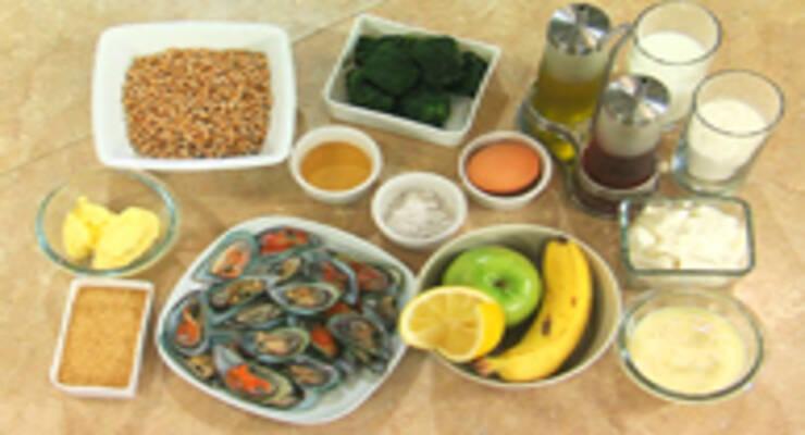 Фото к статье: Мидии на пару, гарнир из шпината и банановый пудинг